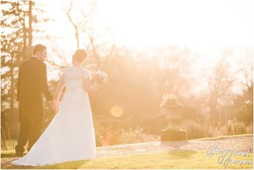 Beautiful portraits at Sunset around the gardens of the Harrowby Estate at Sandon Hall in Stafford by Recommended Wedding Photographer Barry James