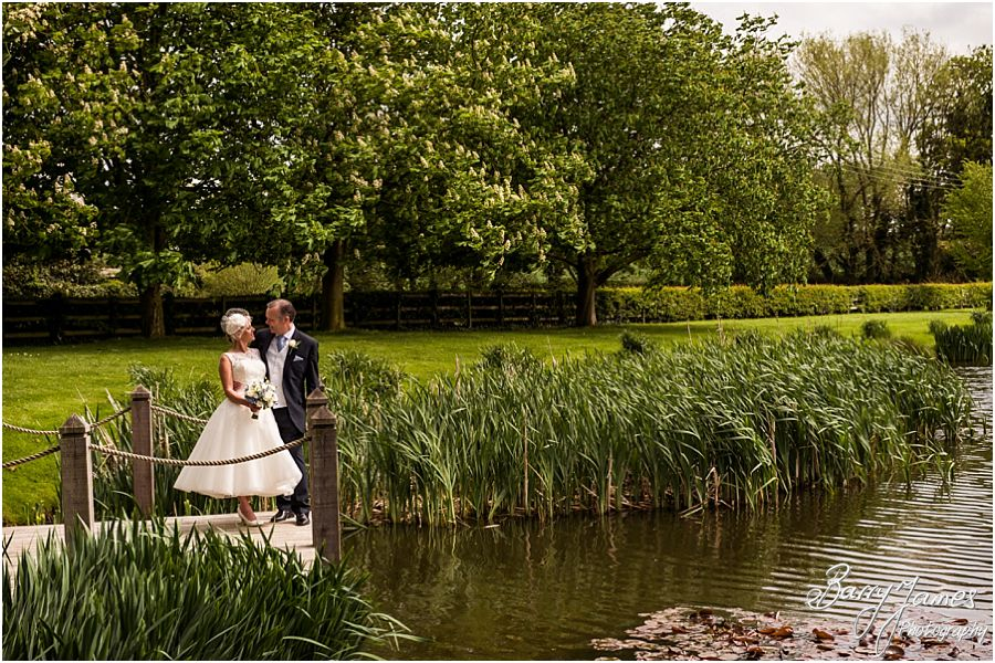 Relaxed portraits of the Bride and Groom at The Moat House in Acton Trussell by Cannock Wedding Photographer Barry James