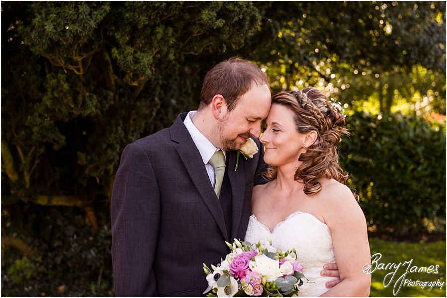 Contemporary relaxed portraits of Bride and Groom at The Moat House in Acton Trussell by Stafford Wedding Photographer Barry James