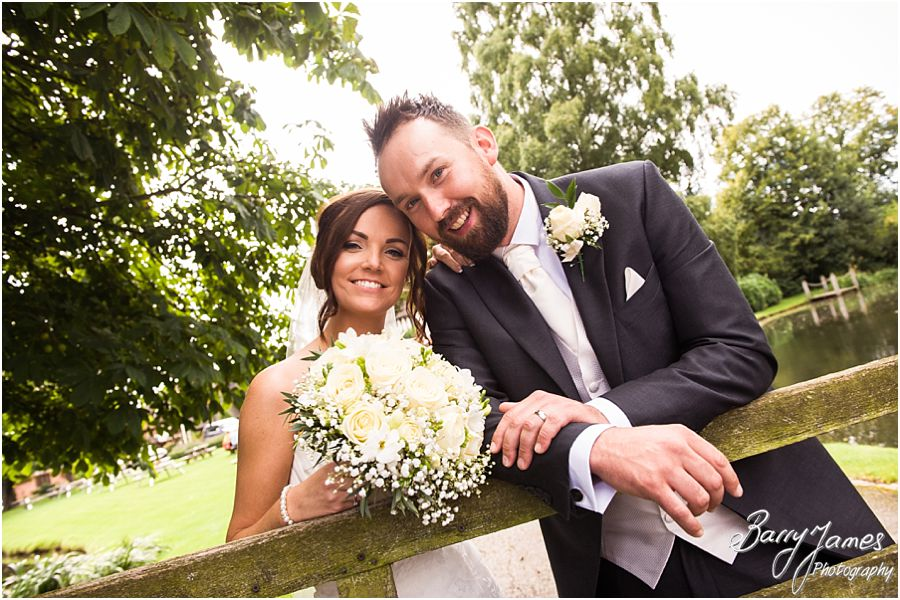 Creative portraits of the Bride and Groom around the grounds at The Moat House in Acton Trussell by West Midlands Wedding Photographer Barry James