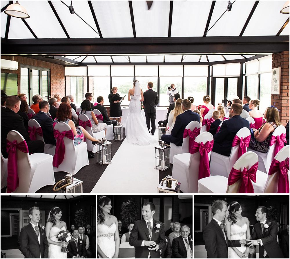 Unobtrusive photographs of the wedding ceremony, telling the story of the wedding at Calderfields in Walsall by Walsall Wedding Photographers Barry James