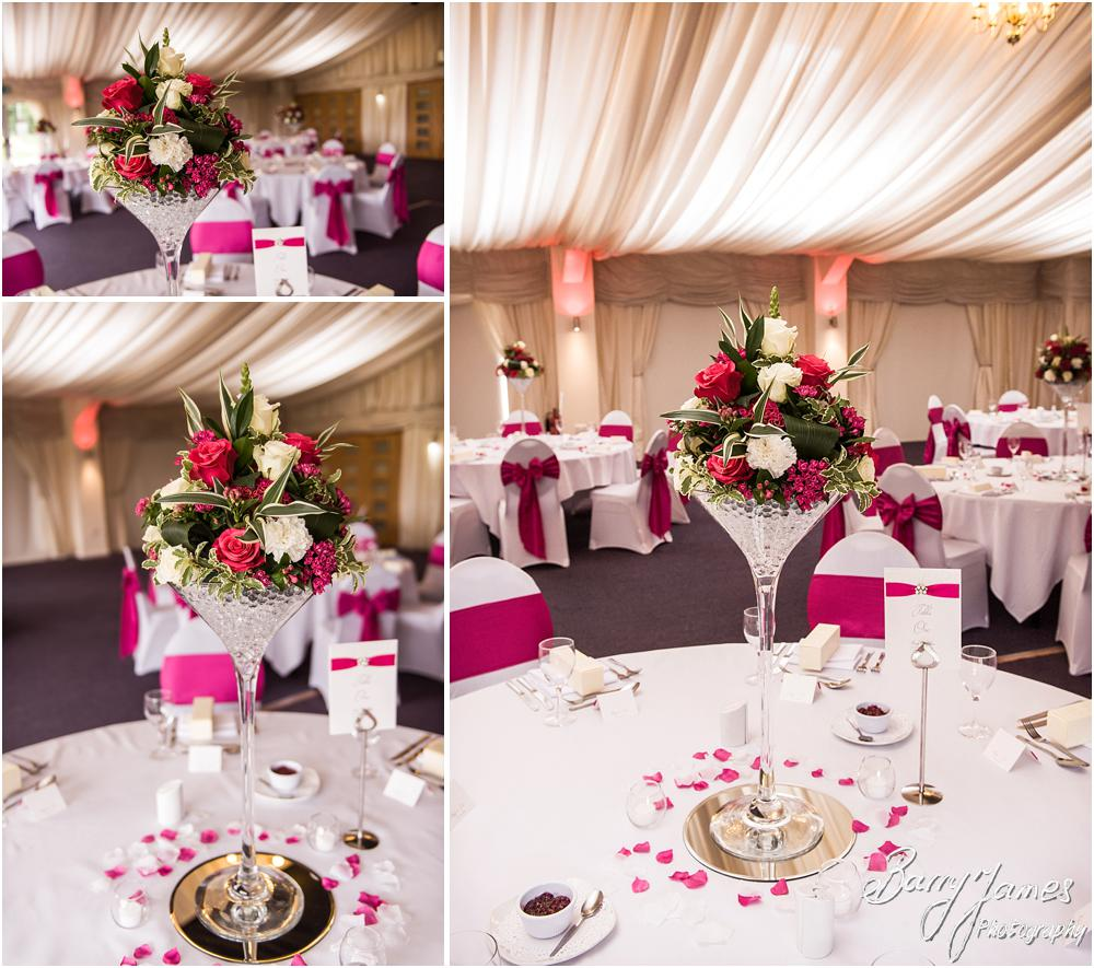 Capturing the details that made the wedding breakfast setting in the marquee at Calderfields in Walsall by Walsall Wedding Photographers Barry James