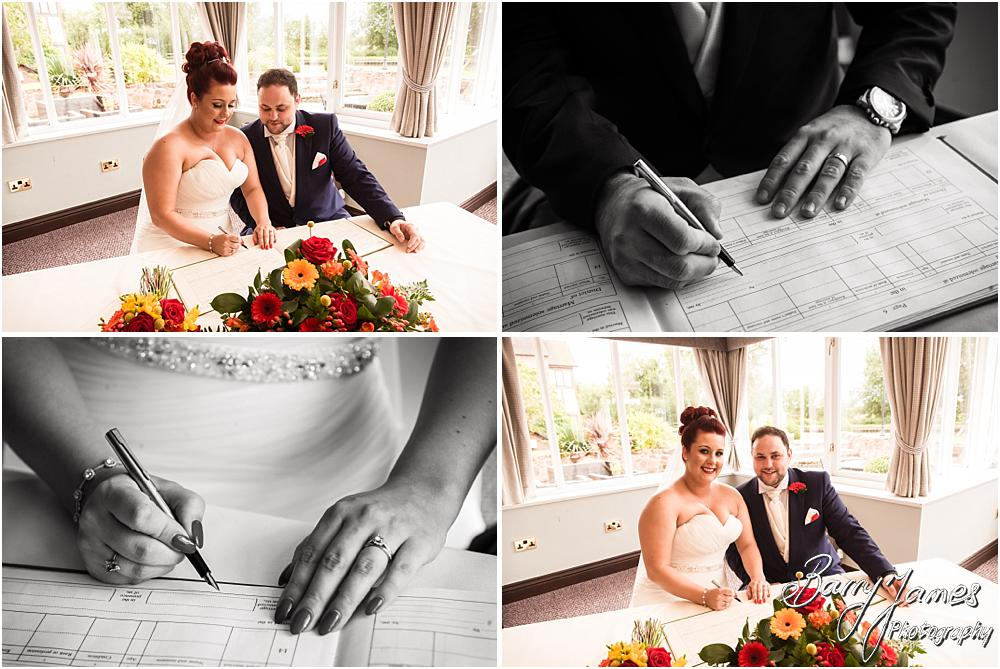 Unobtrusive photographs of the wedding ceremony with two photographs at The Moat House in Staffordshire by Stafford Wedding Photographer Barry James