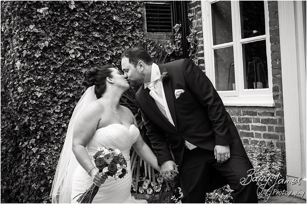 Creative portraits of the bride and groom utilising the stunning setting of The Moat House in Staffordshire by Stafford Wedding Photographer Barry James