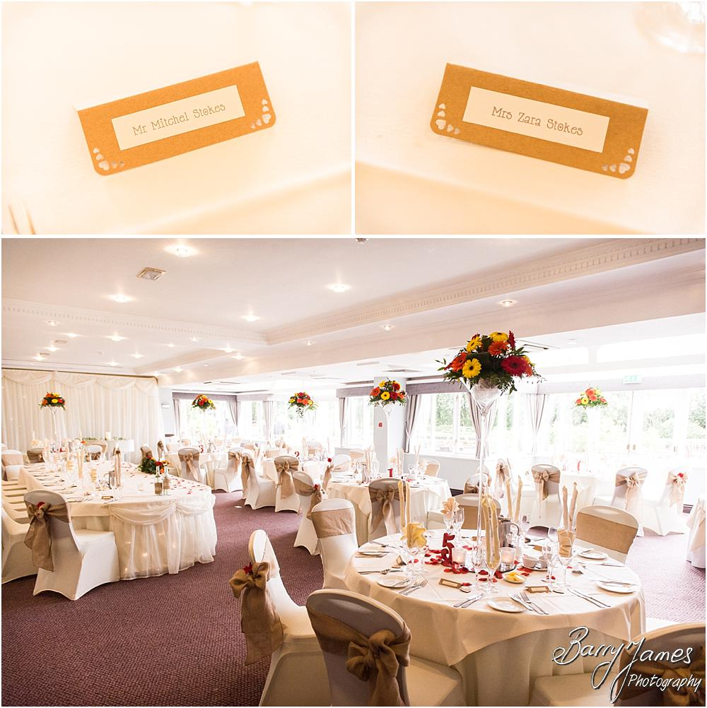 Photographs of the beautiful room for the wedding breakfast dressed by Design Elegance at The Moat House in Staffordshire by Stafford Wedding Photographer Barry James