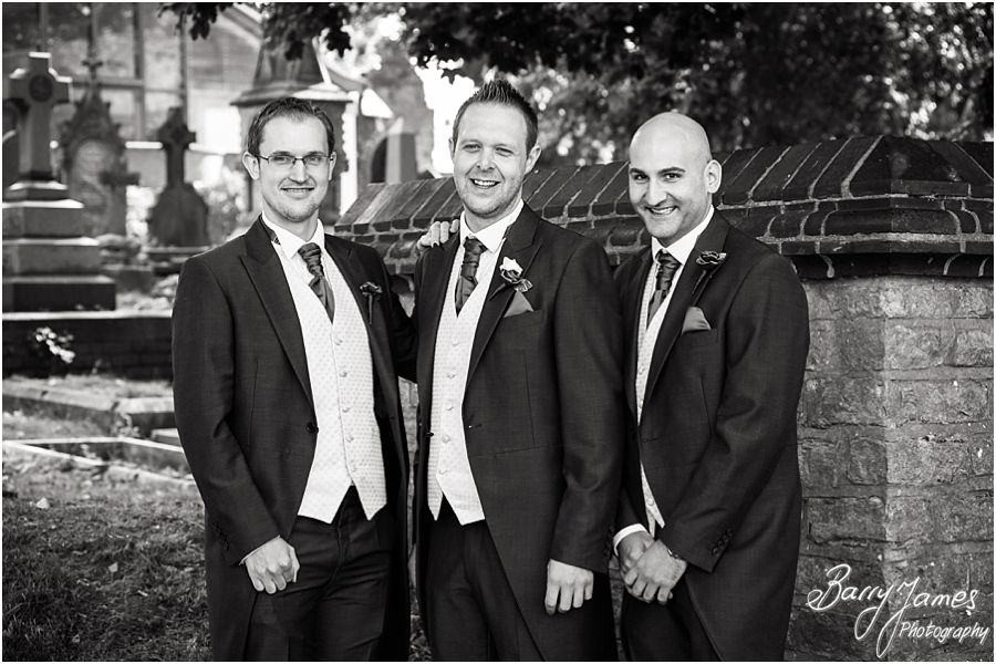 Relaxed groomsmen portraits at Rushall Parish Church in Walsall by Walsall Wedding Photographer Barry James