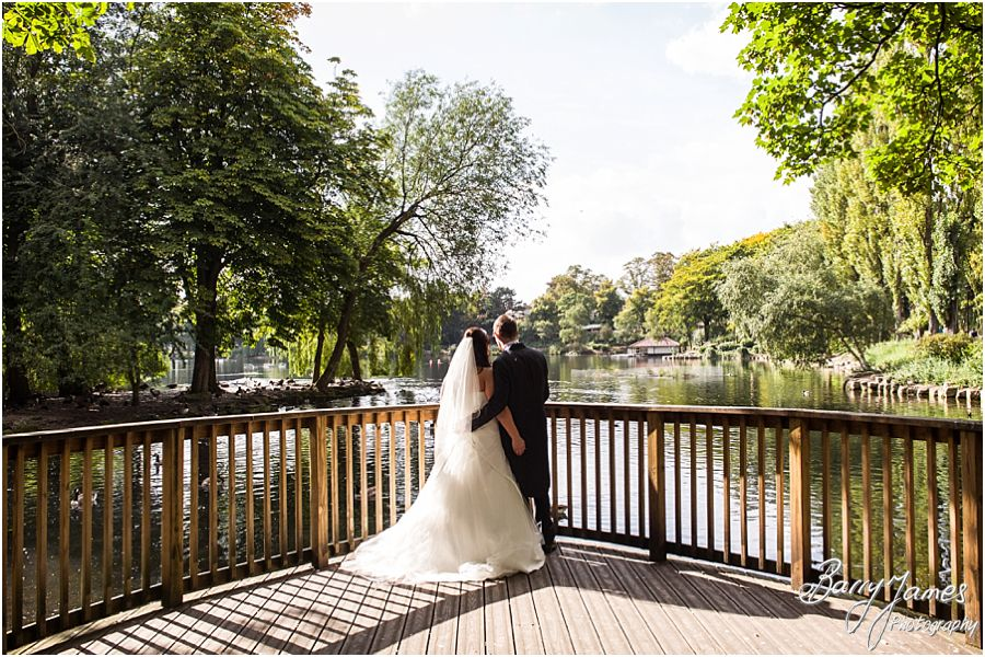 Creative portraits on the lakeside at Walsall Arboretum in Walsall by Walsall Wedding Photographer Barry James