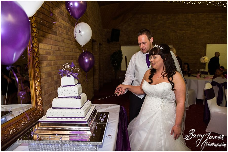 Purple wedding cake at The Chase in Cannock by Walsall Wedding Photographer Barry James