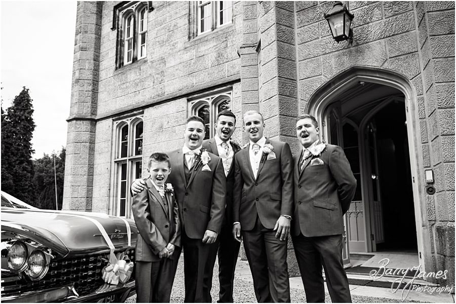 Natural contemporary photos of the groom and groomsmen outside the hall at Hawkesyard Estate in Rugeley by Rugeley Wedding Photographer Barry James