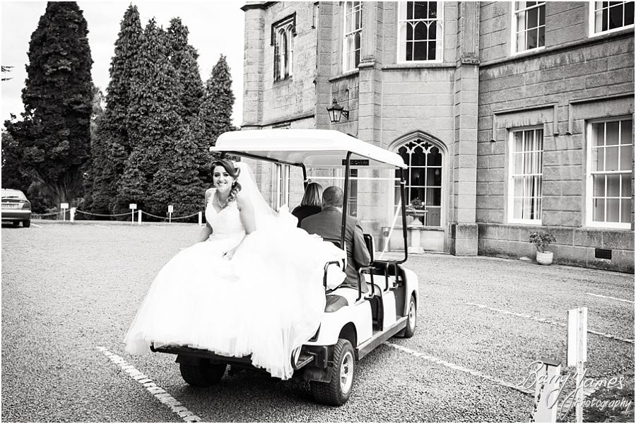 Golf cart wedding transport for bride at Hawkesyard Estate in Rugeley by Rugeley Wedding Photographer Barry James