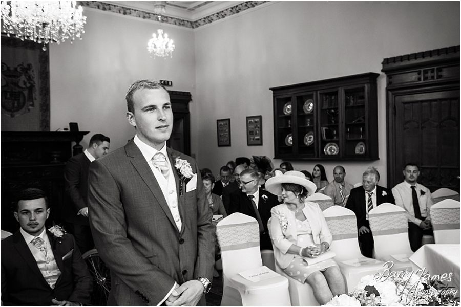 Capturing the nervous anticipation of the groom awaiting his bride at Hawkesyard Estate in Rugeley by Rugeley Wedding Photographer Barry James