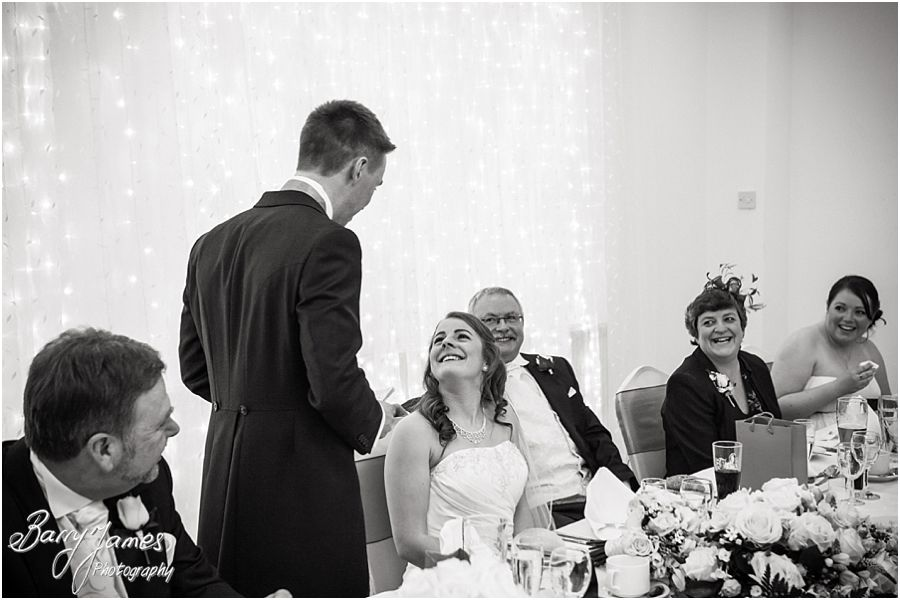 Great photos of speeches and guests reactions at Hawkesyard Hall in Rugeley by Reportage Wedding Photographer Barry James