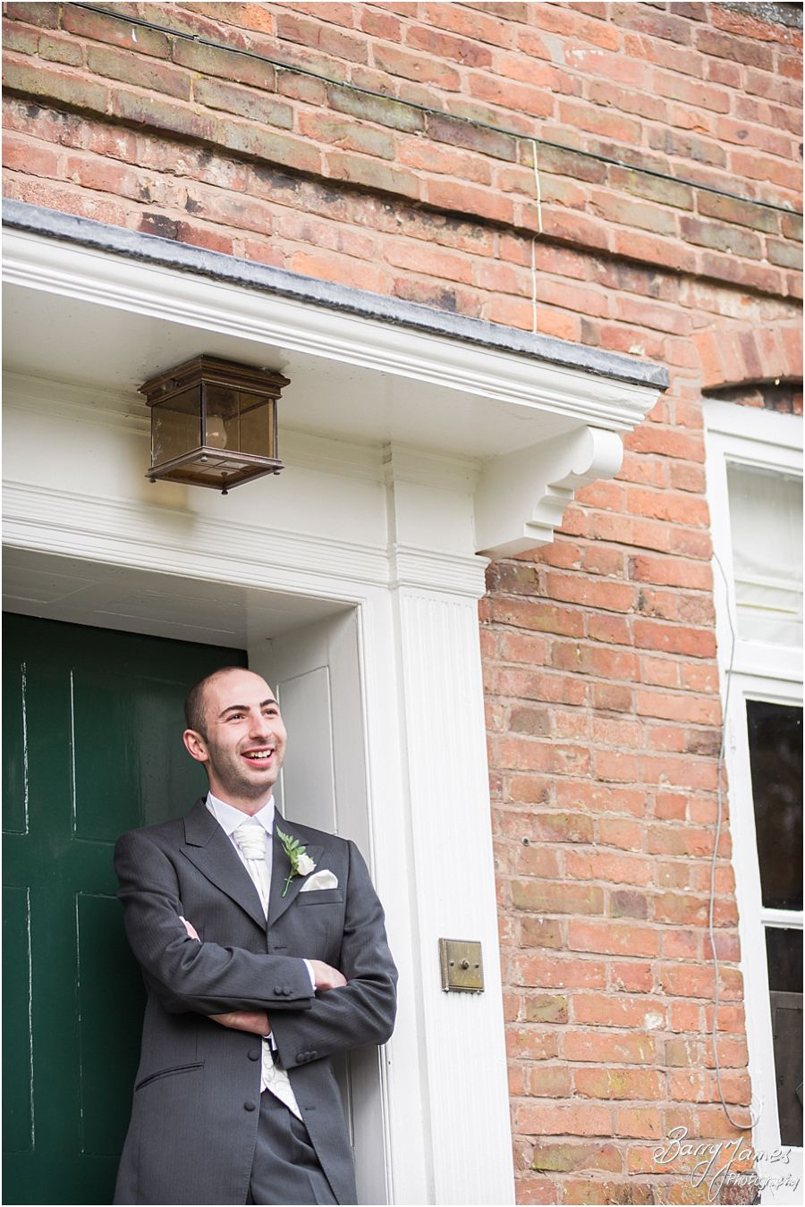 Relaxed portraits of groom and groomsmen at The Moat House in Acton Trussell by Stafford Wedding Photographer Barry James