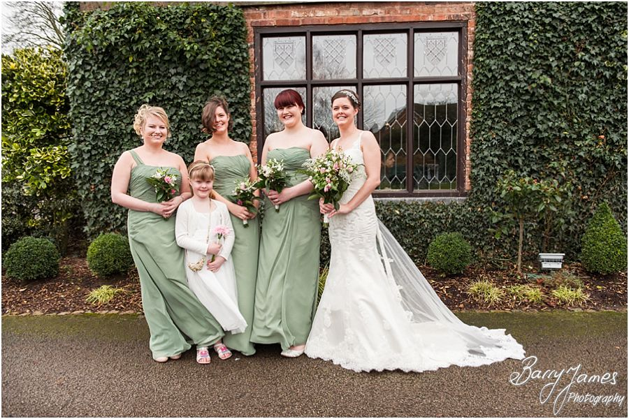 Beautiful relaxed portraits of bride and her bridesmaids at The Moat House in Acton Trussell by Preferred Wedding Photographer Barry James