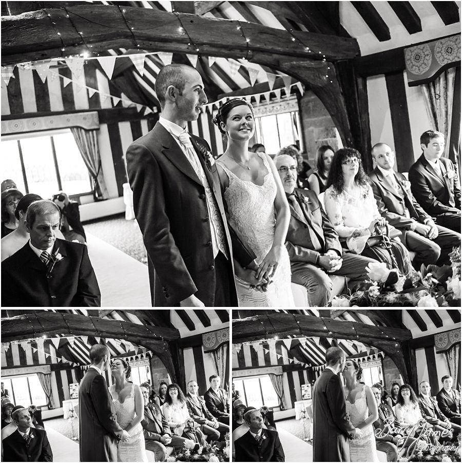 Candid and contemporary photographs capturing the beautiful wedding ceremony at The Moat House in Acton Trussell by Recommended Wedding Photographer Barry James
