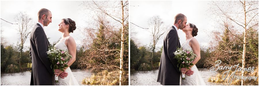 Creative personal portraits of bride and groom by the lake at The Moat House in Acton Trussell by Stafford Wedding Photographer Barry James