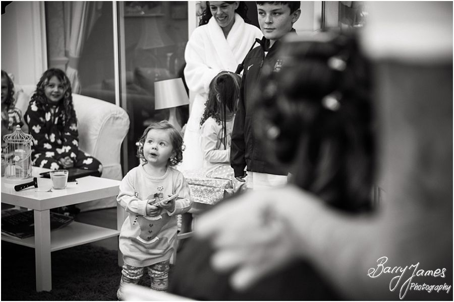 Storytelling wedding photographs of bridal preparations at home in Brewood ahead of her wedding at St Pauls by Cannock Reportage Wedding Photographer Barry James