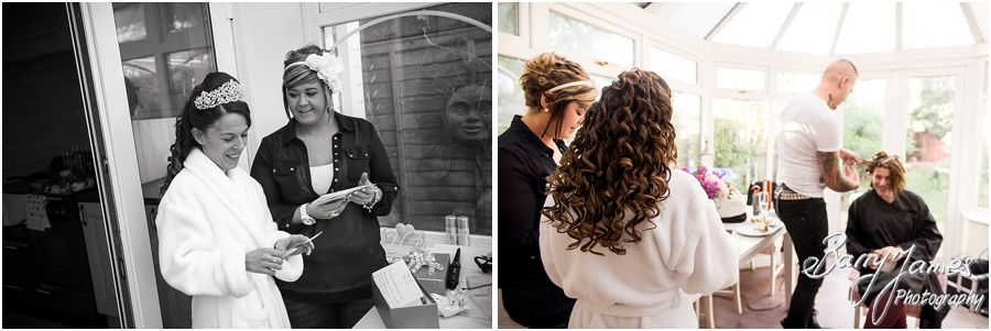 Candid bridal preparation wedding photographs at home in Brewood by Cannock Reportage Wedding Photographer Barry James