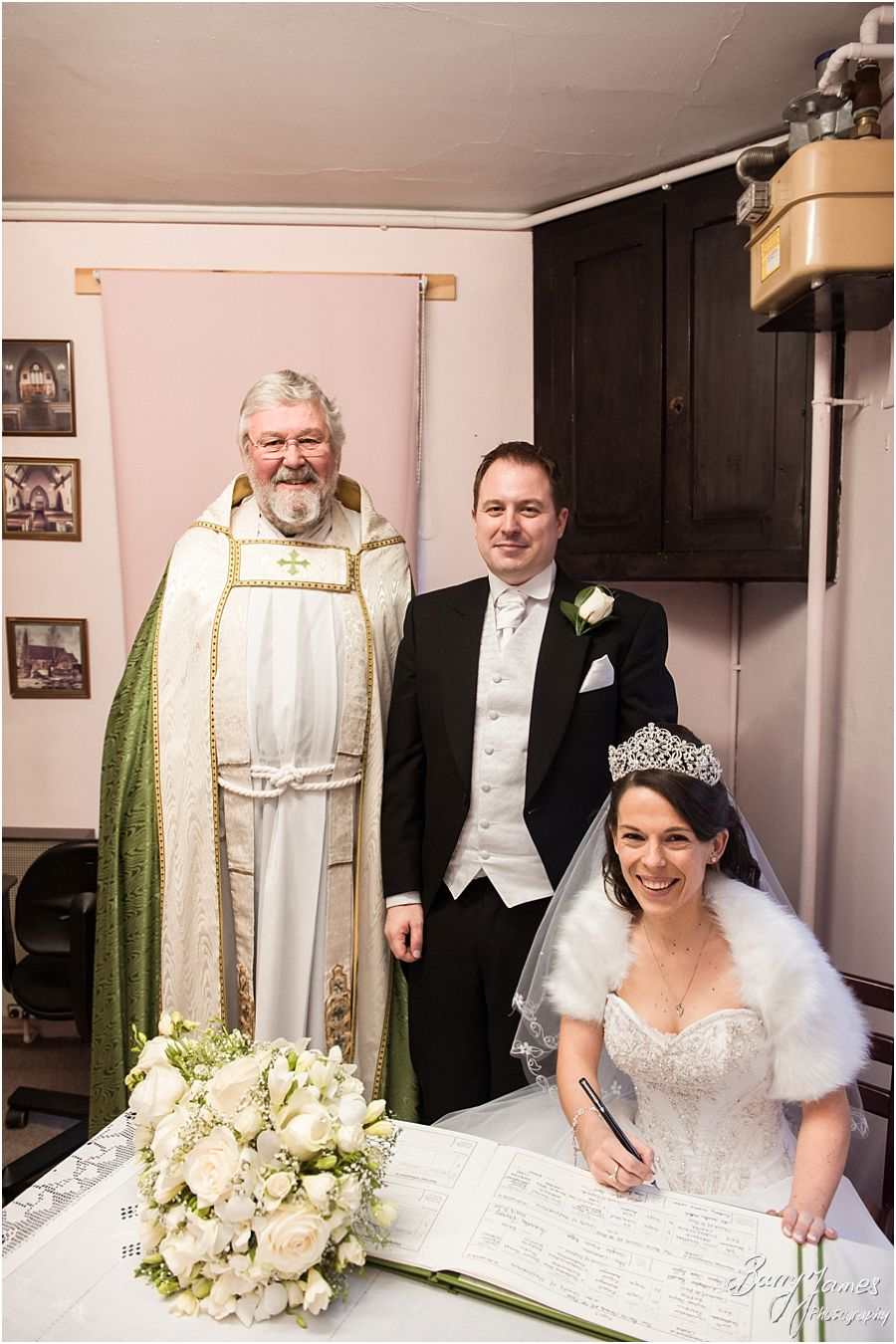 Reportage and creative wedding photography at St Pauls Church in Brewood by Stafford Wedding Photographers Barry James