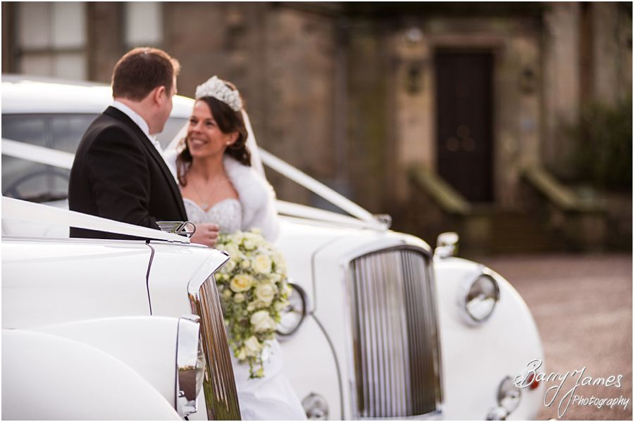 Stroytelling winter wedding photographs at Sandon Hall in Stafford by Creative Contemporary Wedding Photographers Barry James