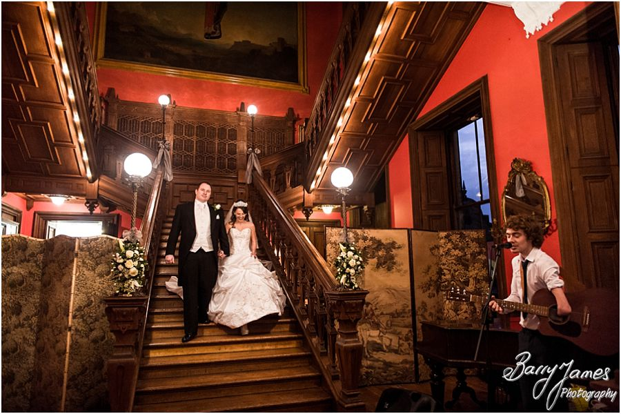 Contemporary relaxed winter wedding photographs at Sandon Hall in Stafford by Classical Wedding Photographers Barry James
