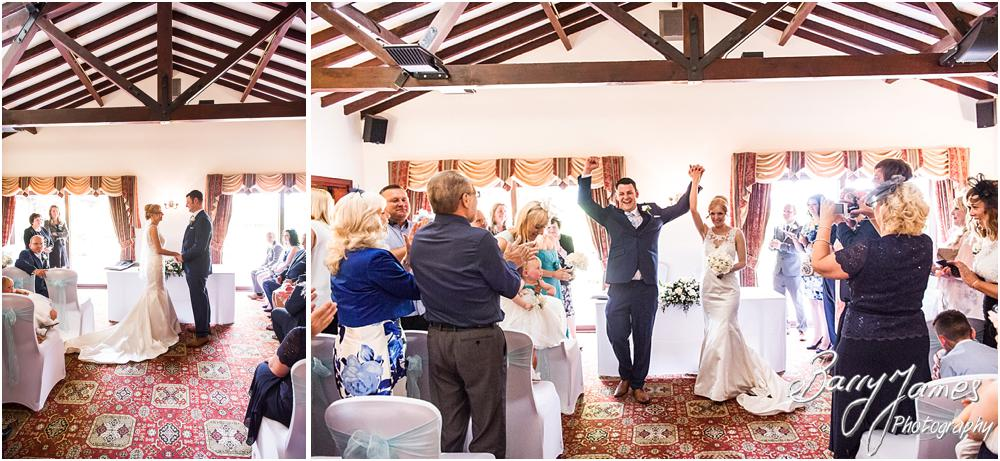 What a fabulous way to exit the ceremony at Oak Farm Hotel in Cannock by Cannock Wedding Photographers Barry James