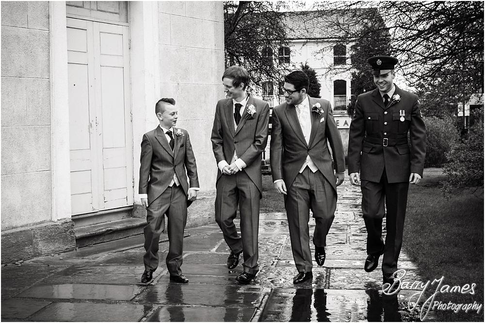 Relaxed contemporary and candid photographs of the groomsmen at St Leonards in Bilston by West Midlands Wedding Photographer Barry James