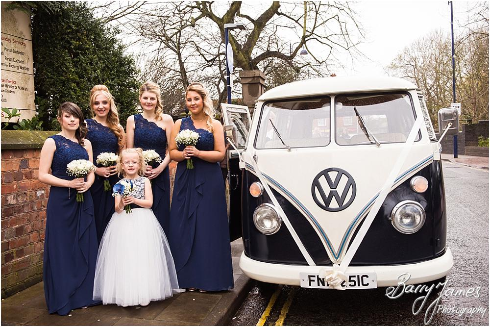Natural and relaxed photographs of the bridal parties arrival at St Leonards in Bilston by West Midlands Wedding Photographer Barry James