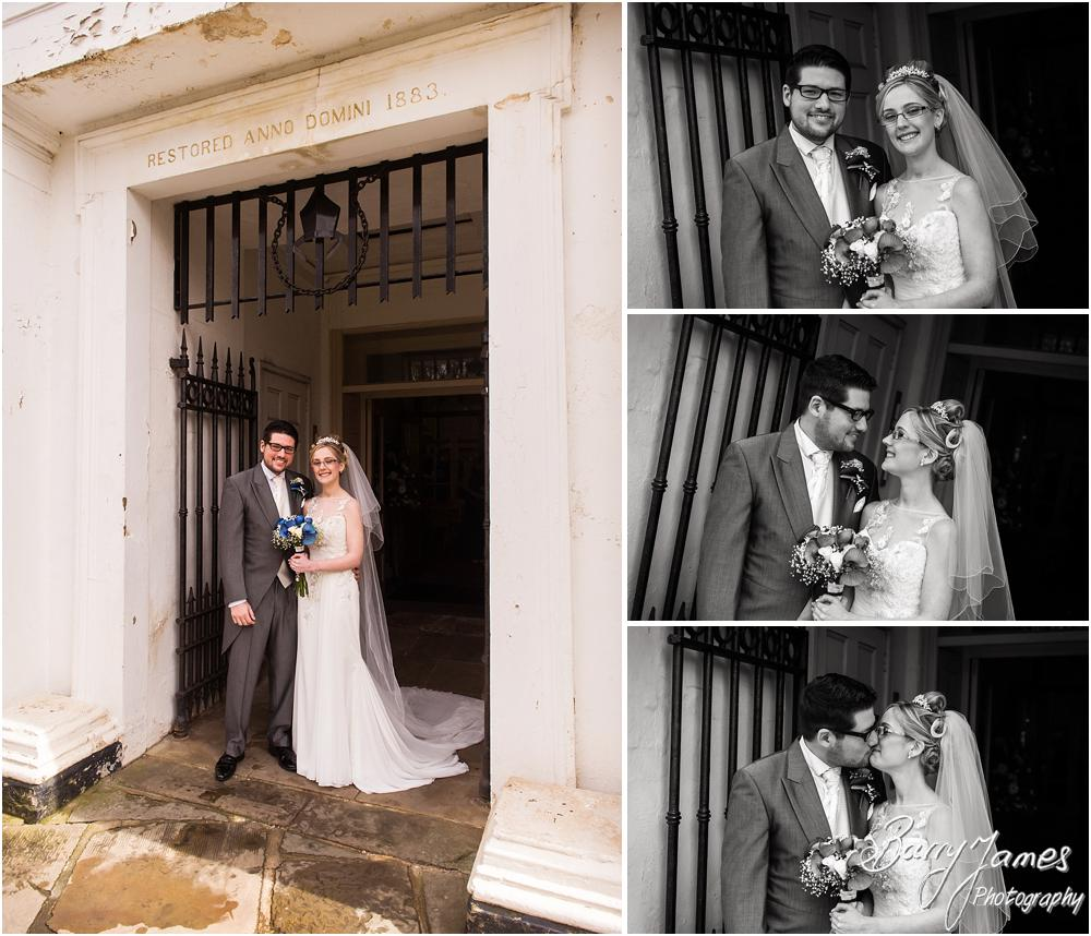 Creative contemporary portraits on the church doorway at St Leonards in Bilston by West Midlands Wedding Photographer Barry James