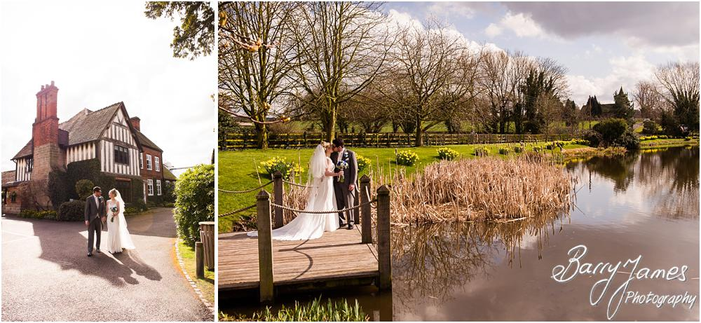 Creative contemporary portraits in the spring gardens at The Moat House in Acton Trussell by Acton Trussell Wedding Photographer Barry James