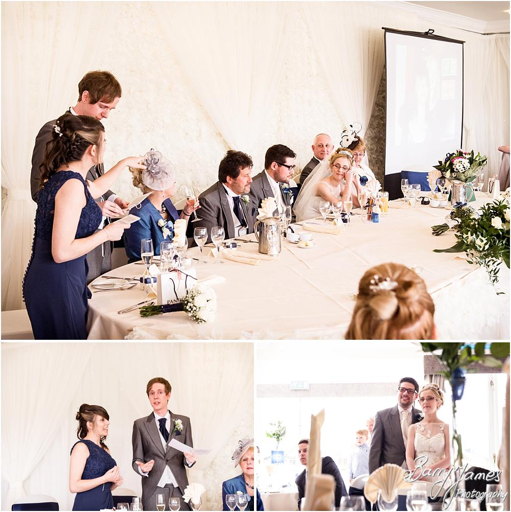 Candid photographs capturing the speeches at The Moat House in Acton Trussell by Acton Trussell Wedding Photographer Barry James