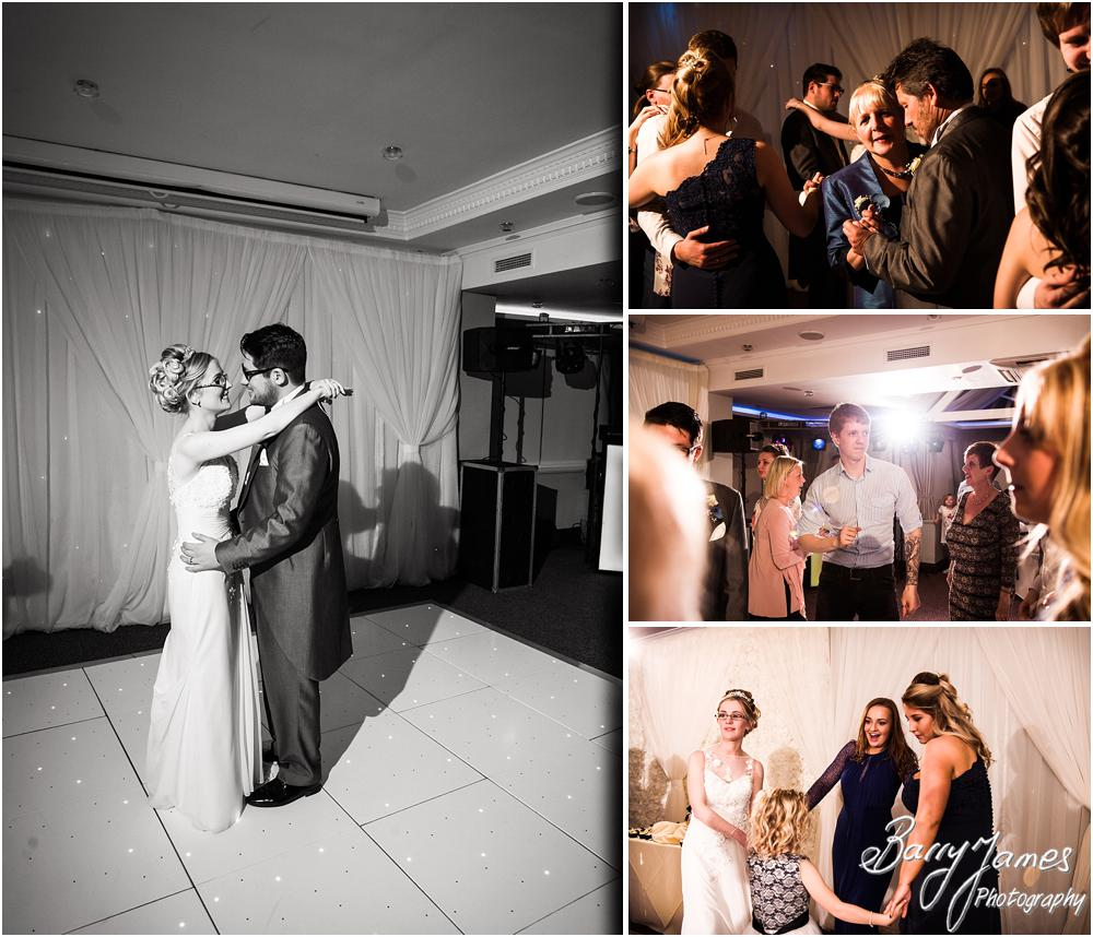 Capturing the fun of the first dance at The Moat House in Acton Trussell by Acton Trussell Wedding Photographer Barry James