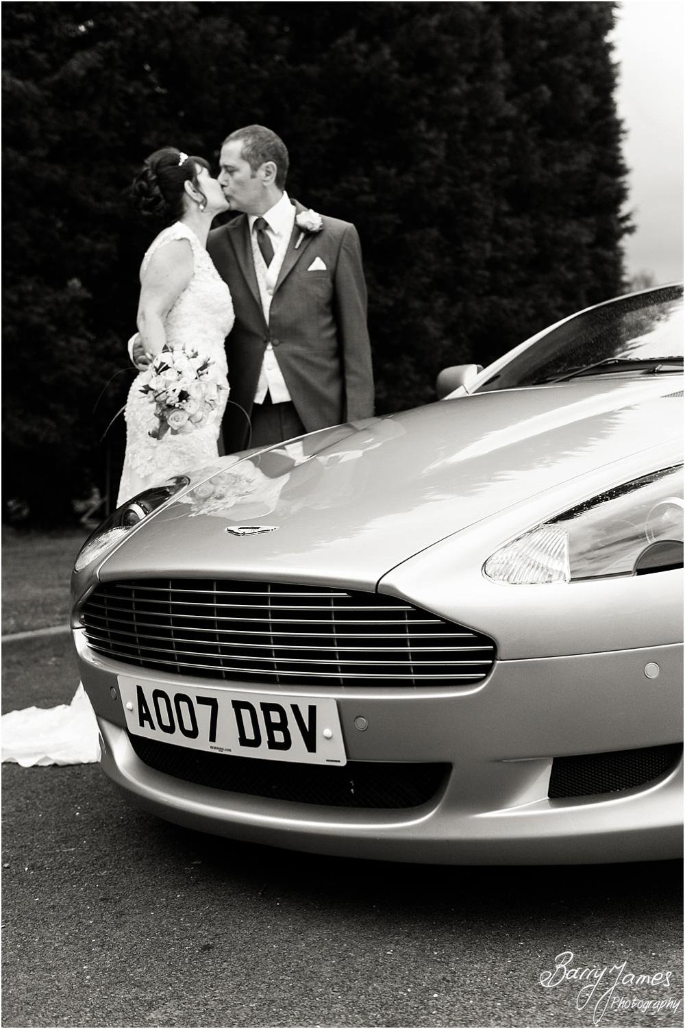 Gorgeous transport from Aston Martin for the wedding at Calderfields in Walsall by Walsall Wedding Photographer Barry James