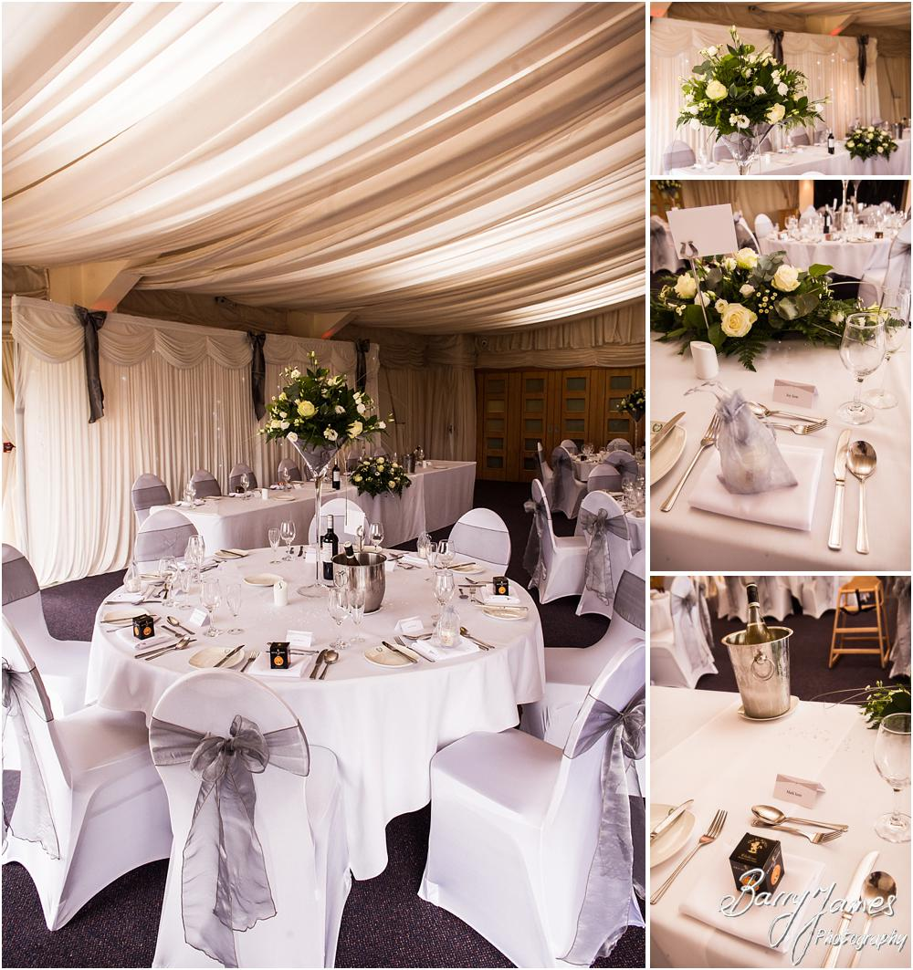 Beautiful styling for the wedding breakfast setting at Calderfields in Walsall by Calderfields Wedding Photographers Barry James