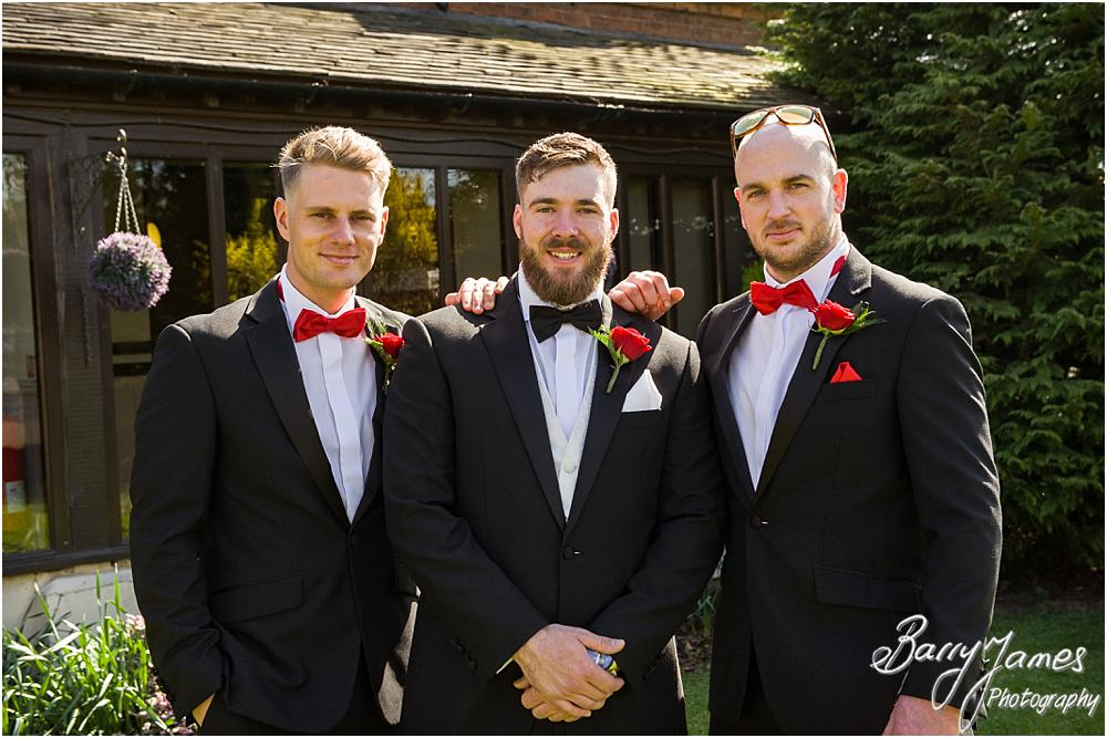 Relaxed contemporary photographs of the groom and ushers before the ceremony at Oak Farm Hotel in Cannock Wedding Photographers Barry James