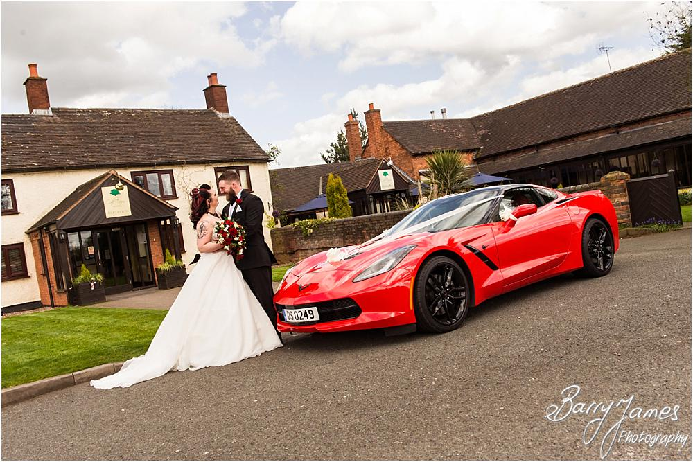 Creative photographs of the Corvette wedding car at Oak Farm Hotel in Cannock Wedding Photographers Barry James