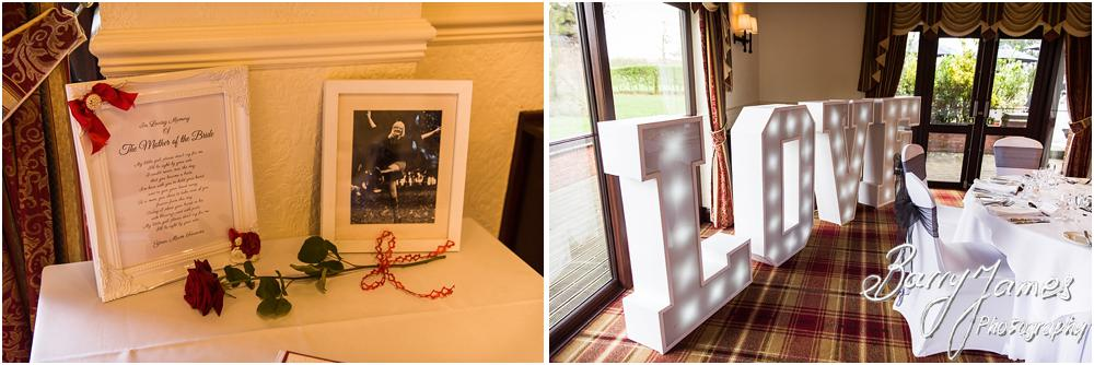 Beautiful touches for the wedding reception at Oak Farm Hotel in Cannock Wedding Photographers Barry James