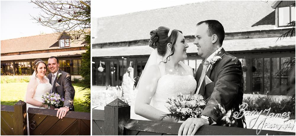 Creative contemporary portraits of the Bride and Groom in the front garden at Oak Farm Hotel in Cannock by Contemporary Cannock Wedding Photographer Barry James