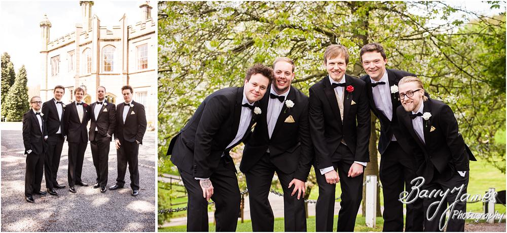 Creative contemporary photographs of the groomsmen at Hawkesyard Hall in Rugeley by Rugeley Wedding Photographer Barry James