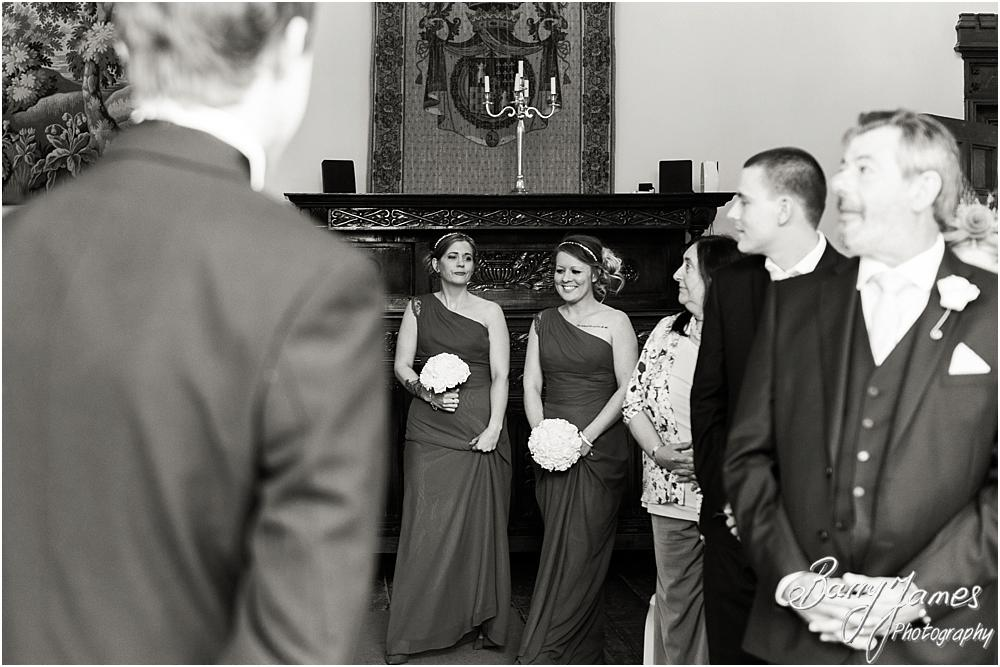 Unobtrusive photographs that tell the story of the wedding ceremony at Hawkesyard Hall in Rugeley by Rugeley Wedding Photographer Barry James