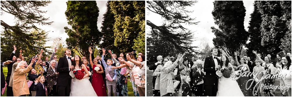 Confetti fun at Hawkesyard Hall in Rugeley by Rugeley Wedding Photographer Barry James