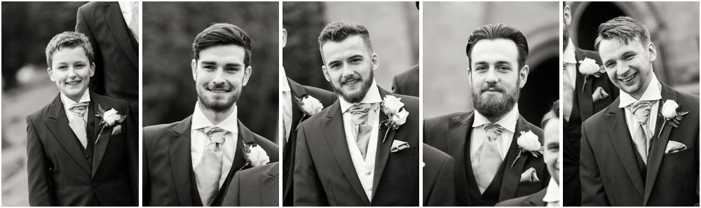 Contemporary and creative wedding photographs of the groomsmen arrival at St Peters Little Aston in Sutton Coldfield by Sutton Coldfield Wedding Photographer Barry James