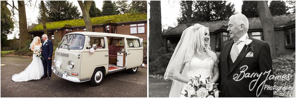 Contemporary and creative wedding photographs of the bridal party arrival at St Peters Little Aston in Sutton Coldfield by Sutton Coldfield Wedding Photographer Barry James