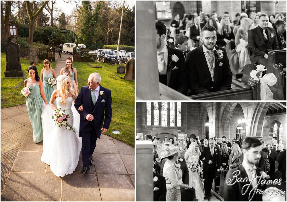 Candid photographs capturing the arrival of the bride at St Peters Little Aston in Sutton Coldfield by Sutton Coldfield Wedding Photographer Barry James