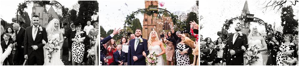Capturing the fabulous confetti exit at St Peters Little Aston in Sutton Coldfield by Sutton Coldfield Wedding Photographer Barry James