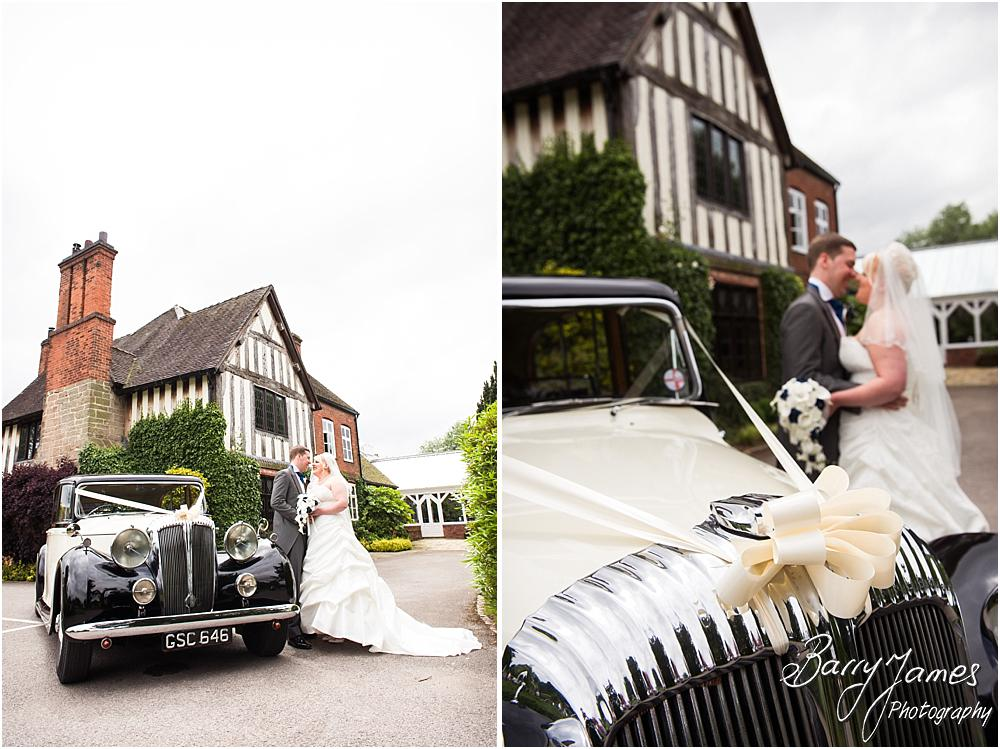 Arriving in style with Aarons Cars at The Moat House in Acton Trussell by Penkridge Wedding Photographer Barry James