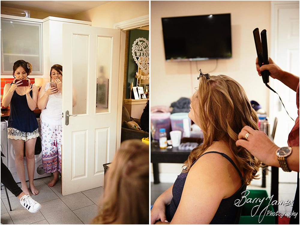 Storytelling candid photographs of the wedding morning and bridal preparations before the wedding at St Marks Church in Great Wyrley by Cannock Wedding Photographer Barry James