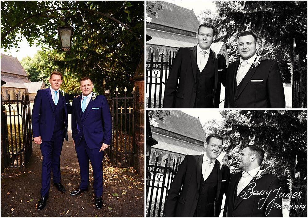 Contemporary portraits of the groom and best man ahead of the ceremony at St Marks Church in Great Wyrley by Cannock Wedding Photographer Barry James
