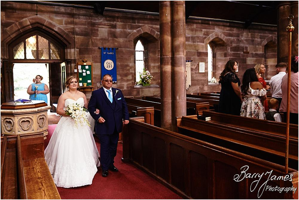 Candid photographs that capture the beautiful moment of the brides arrival at St Marks Church in Great Wyrley by Cannock Wedding Photographer Barry James