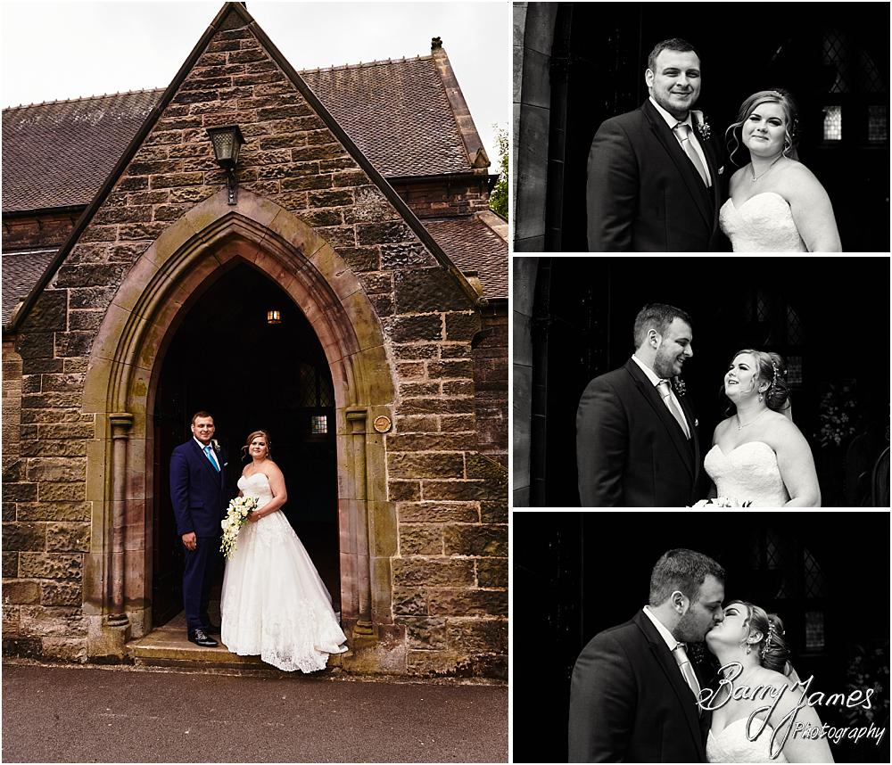 Creative portraits of the newly married couple of the doorway at St Marks Church in Great Wyrley by Cannock Wedding Photographer Barry James
